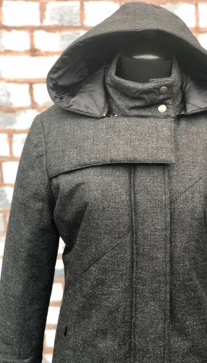 Hooded Mock Neck Zip Maxi Coat w/ Thinsulate Quilted Liner/ Charcoal Wool Texture