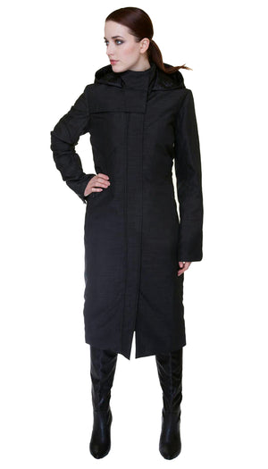 Hooded Mock Neck Zip Maxi Coat w/ Thinsulate Quilted Liner *Nylon Version