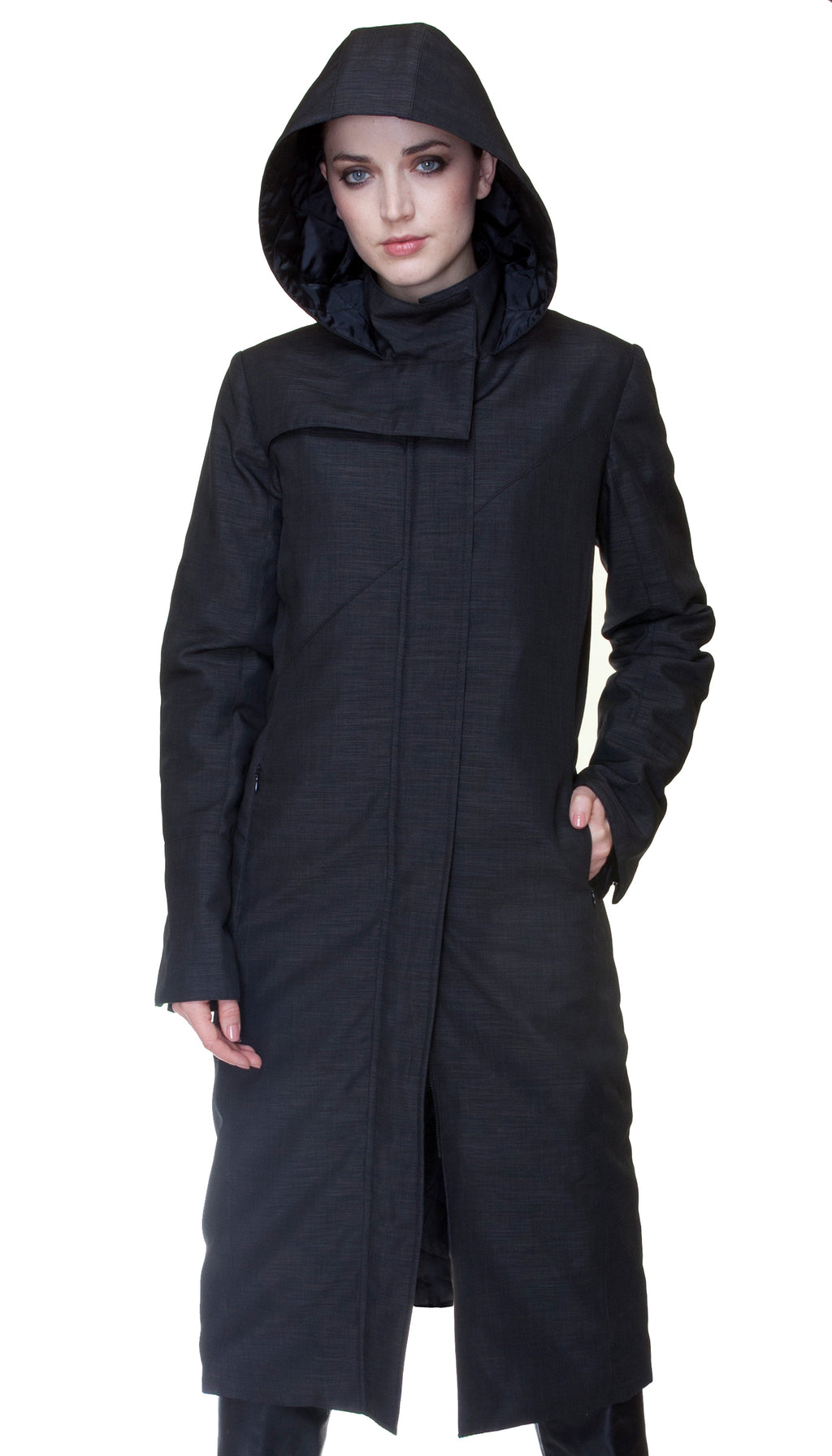 Hooded Mock Neck Zip Maxi Storm Coat w/ Thinsulate Quilted Liner *Nylon
