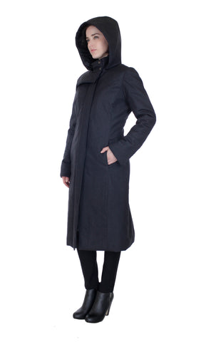 Hooded Mock Neck Zip Maxi Storm Coat w/ Thinsulate Quilted Liner/ Charcoal Wool
