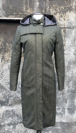 Hooded Mock Neck Zip Maxi Coat w/ Thinsulate Quilted Liner/ Green Wool Herringbone