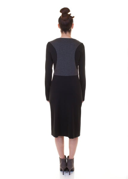Color Block Vest Knit Dress/ Grey/Black Combo