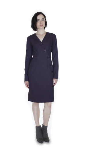 V Plunge Button Up Dress  /  Eggplant