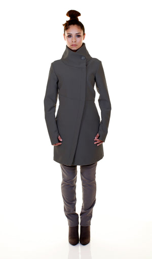 High Funnel Neck Angled Zip Jacket w/ Thumbholes