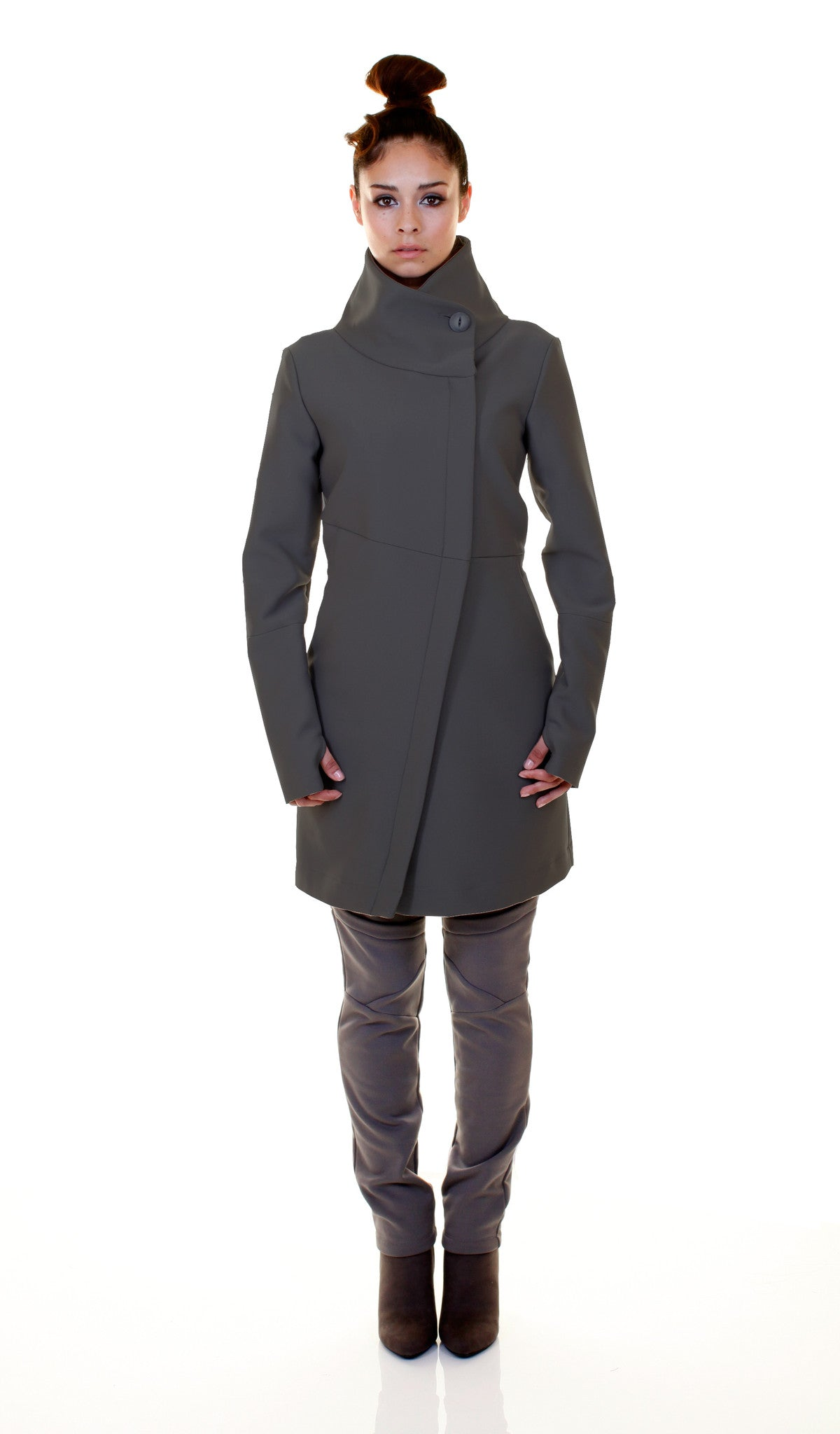 High Funnel Neck Angled Zip Jacket w/ Thumbholes in Smoke Grey