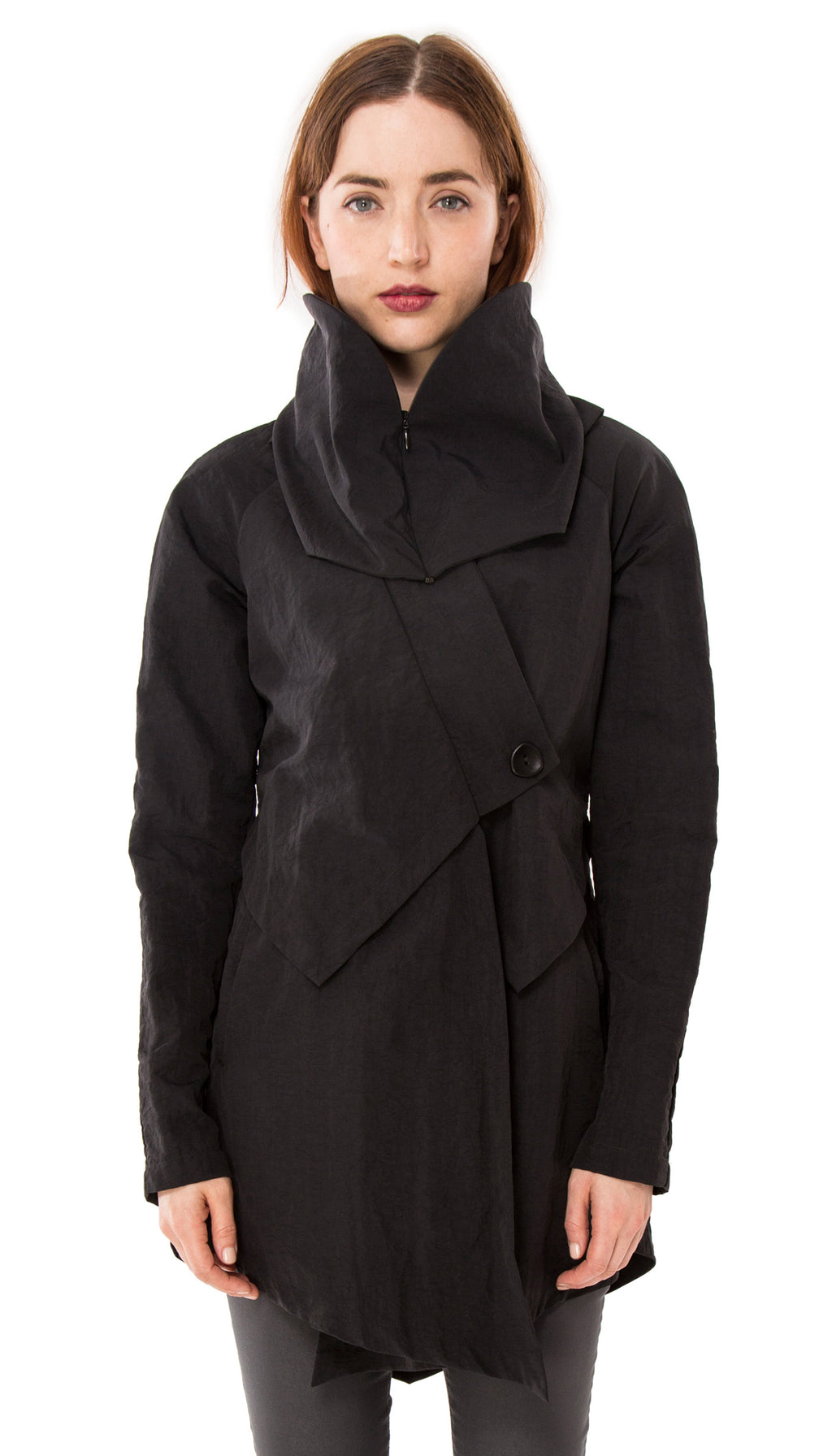 Convertible Hood Asymmetrical Rain Jacket/ Black