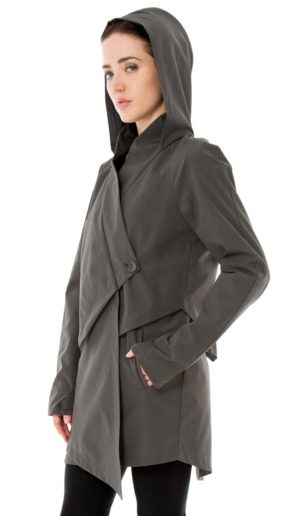 Convertible Hood Asymmetrical Rain Jacket/ Grey