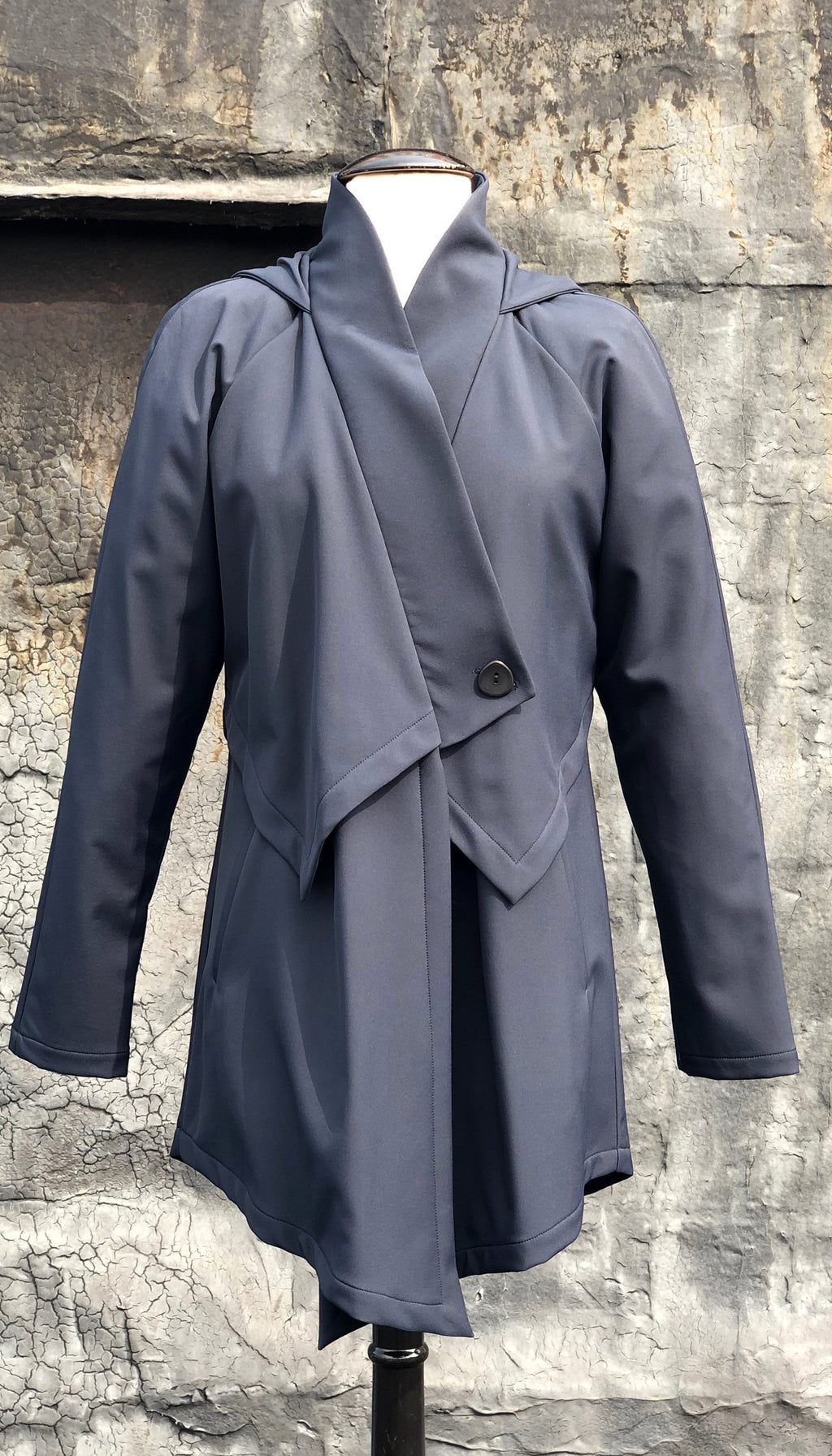 Convertible Hood Asymmetrical Rain Jacket/ Navy