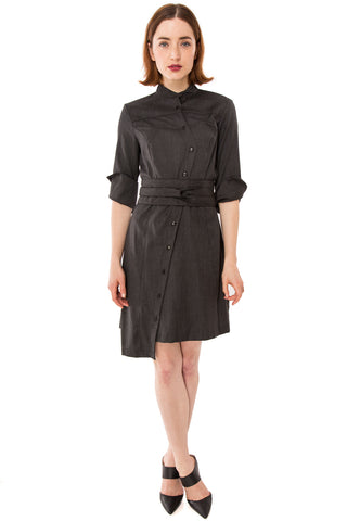Classic Obi belt Shirtdress w/ 3/4 Sleeves / Wool