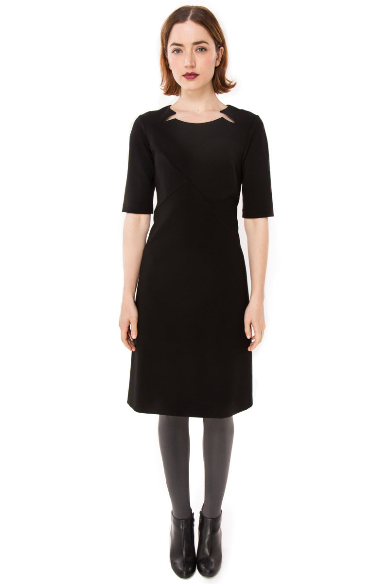Double Split Front Ponte Knit dress