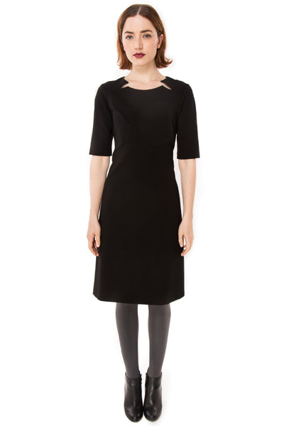 Double Split Front Wool Blend Ponte Knit dress