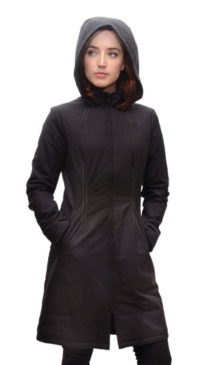 Gotham Water Repellent Zip Off Hood Quilted Coat