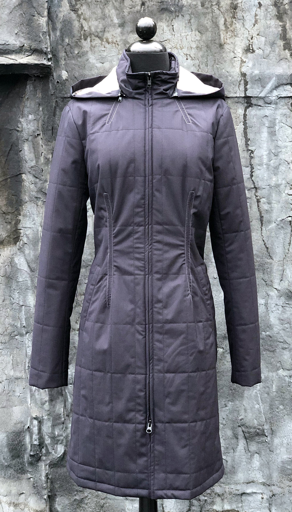 Gotham Water Repellent Zip Off Hood Quilted Coat/ Navy
