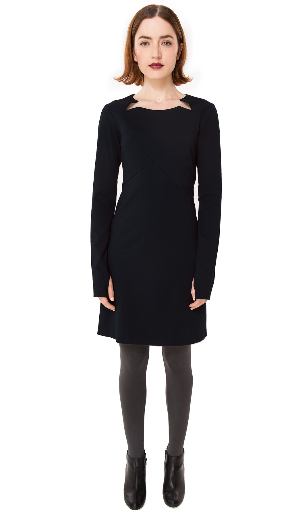 Double Split Front Ponte Long Sleeve Knit dress