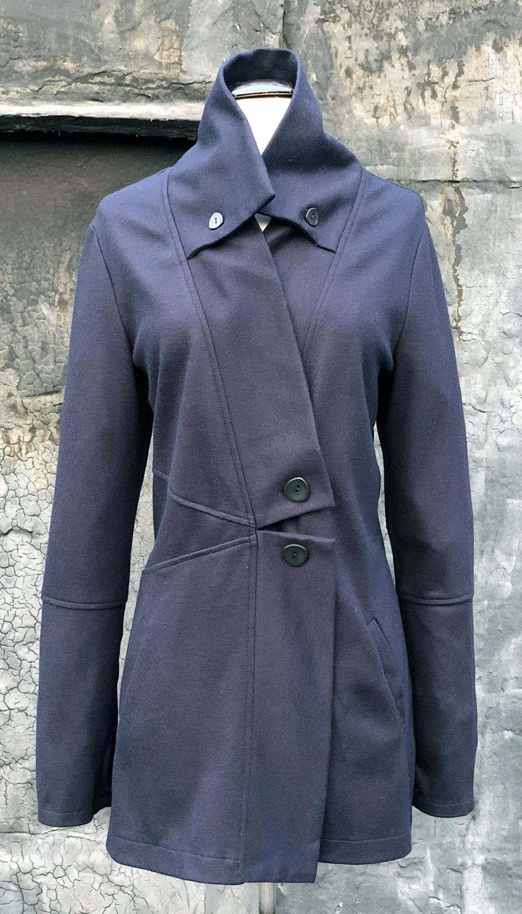 Classic Double Collar Wool Sweater Jacket/ Navy