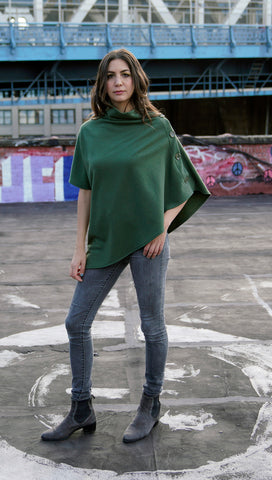 Convertible Side Button Asymmetrical Poncho/Vest