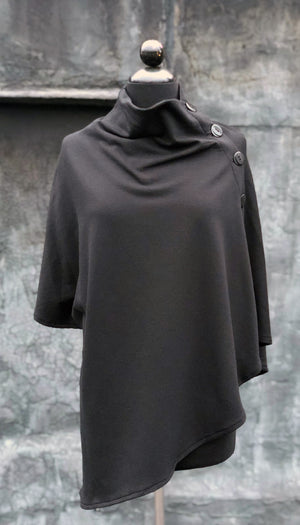 Convertible Side Button Asymmetrical Poncho/Vest/ Black