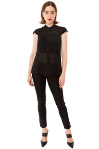 Zoey Button Up Shirt:  Black *ORIGINALLY $198