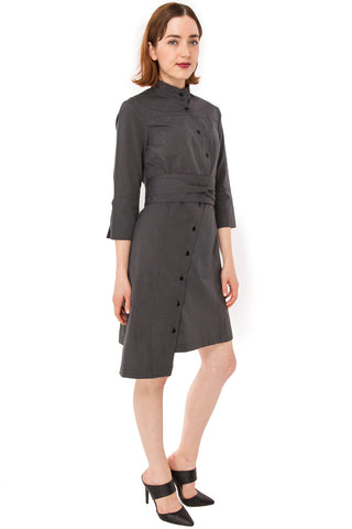 Classic Obi belt Shirtdress w/ 3/4 Sleeves / Black & White textured Cotton