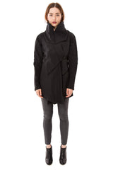 Convertible Hooded Wrap Rain Jacket / Black