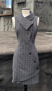 Swerve Vest Dress in  Black White Pattern