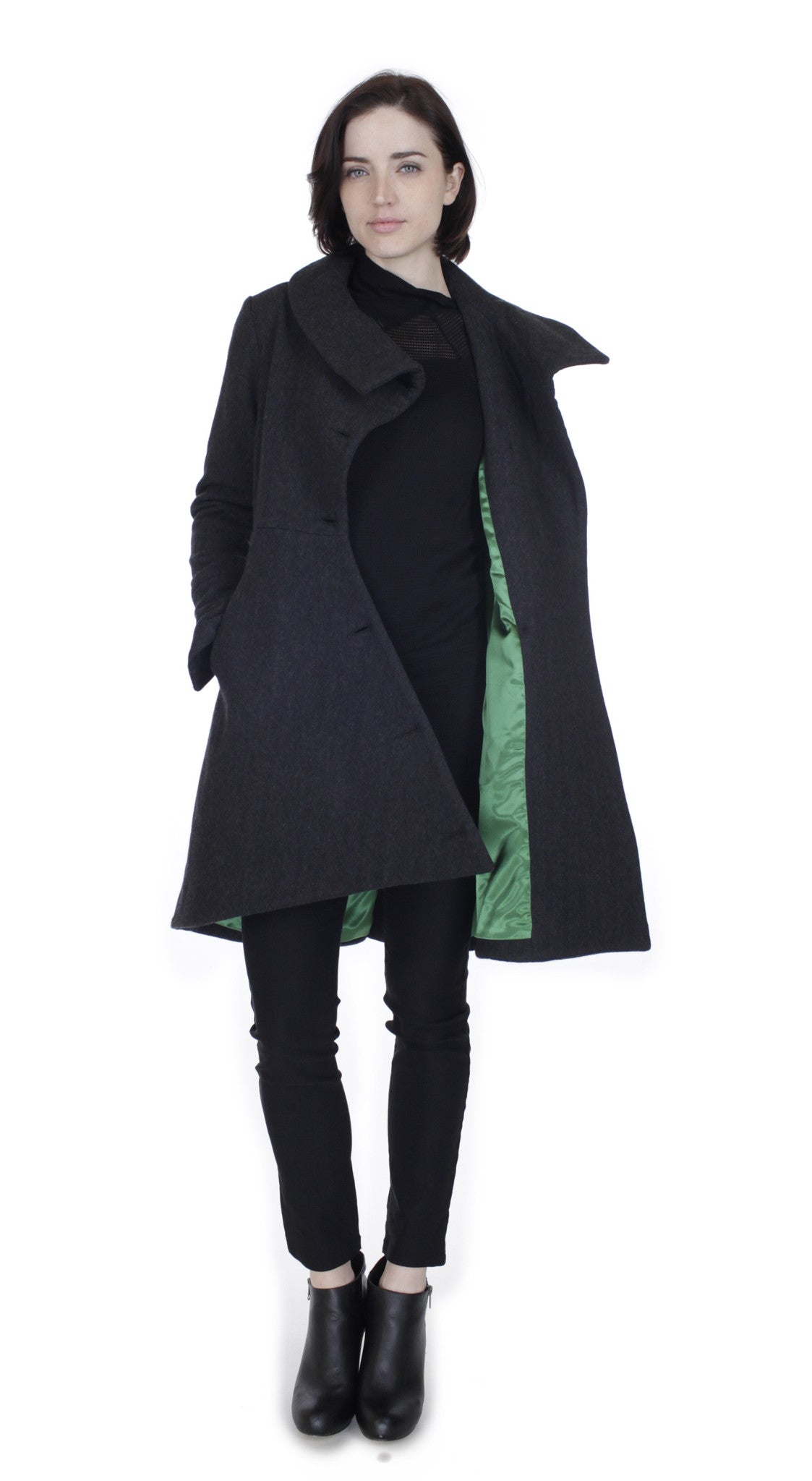 Swerve Coat /Wool/ Charcoal Herringbone