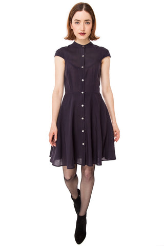 Zoey Dress in Wool Gauze: Eggplant