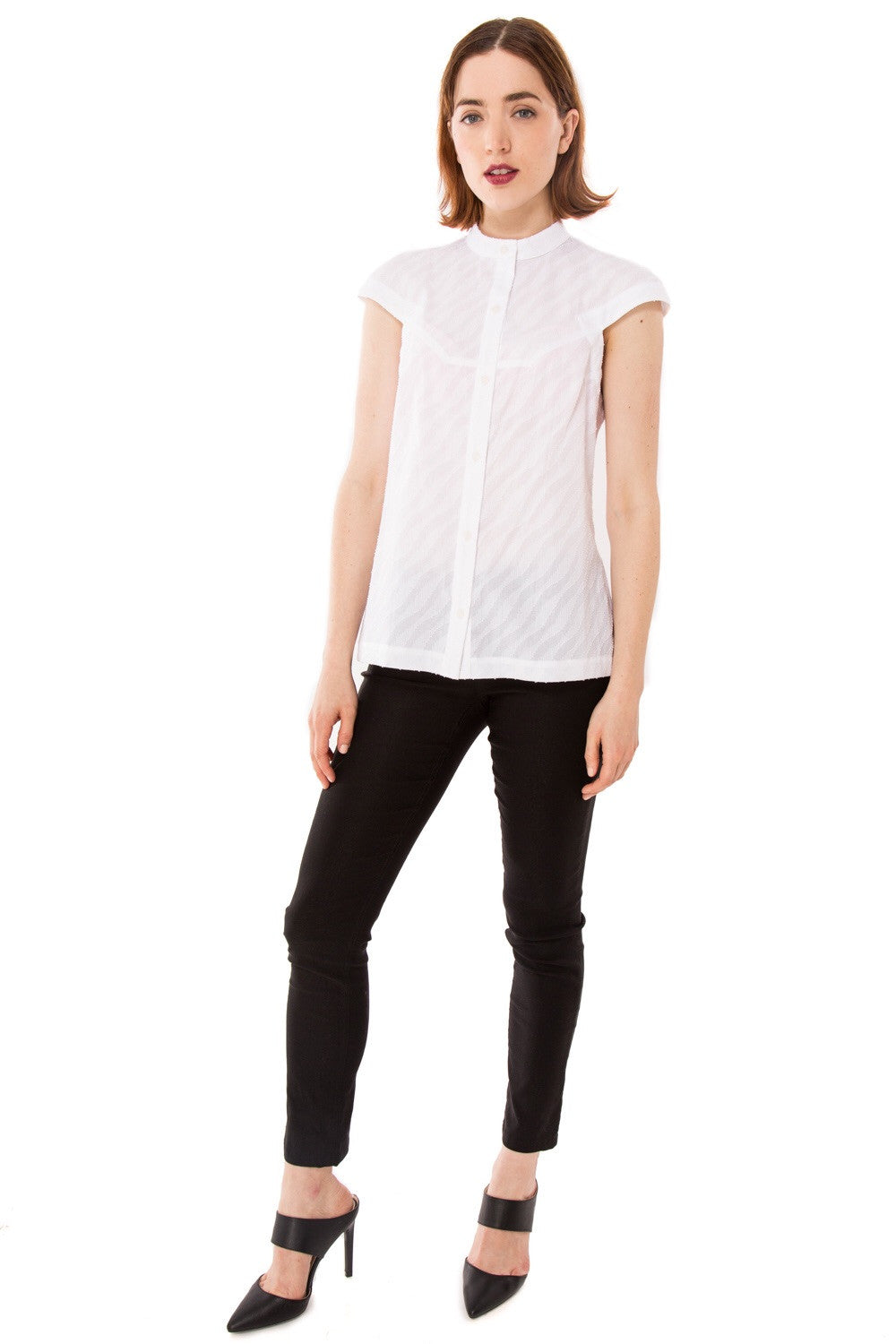 Zoey Racerback Button Up Shirt/ White *ORIGINALLY $198