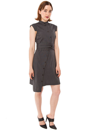 Classic Obi belt Shirtdress/ Graphite textured Cotton
