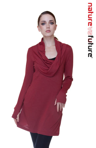 Cowl neck tunic dress/ Crepe knit