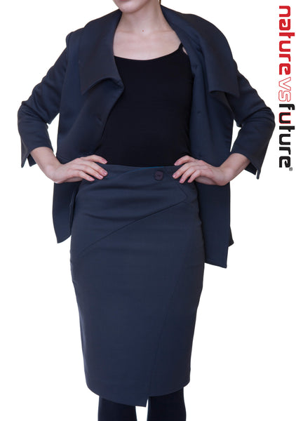 Swerve 3/4 Sleeve Suit Blazer & Skirt: Black