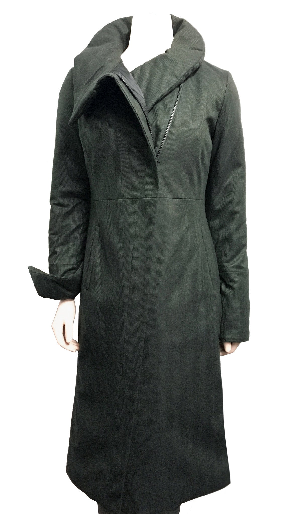 High Collar Angled Zip Maxi Coat w/ Thinsulate Quilted Liner/ Wool