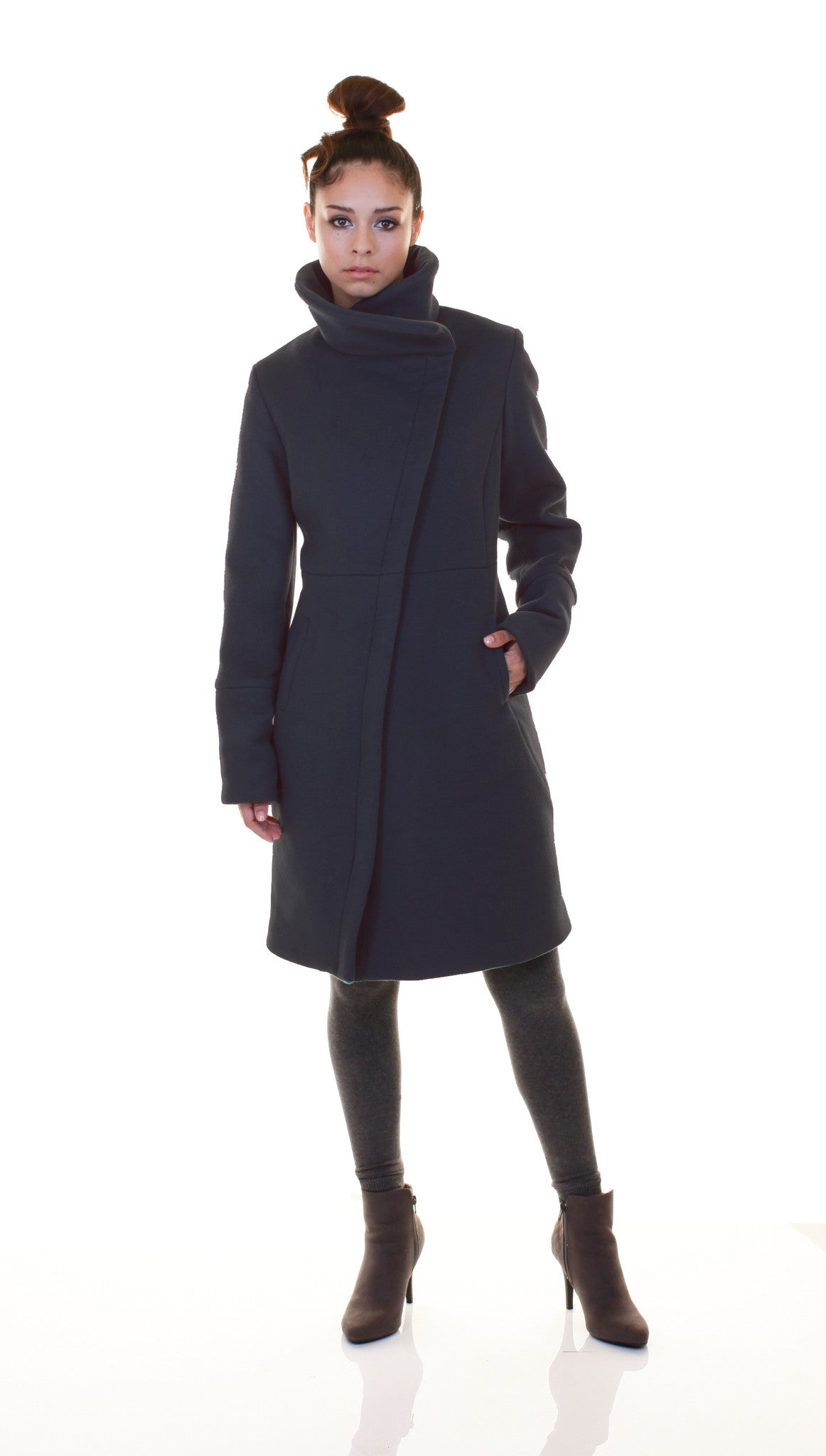 High Collar thinsulated zip coat: Charcoal