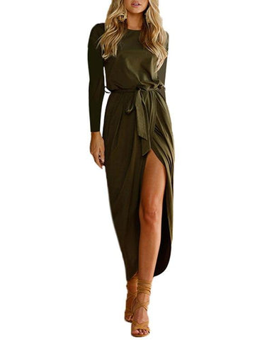 Latest Pure Color Women Long Sleeved Dress