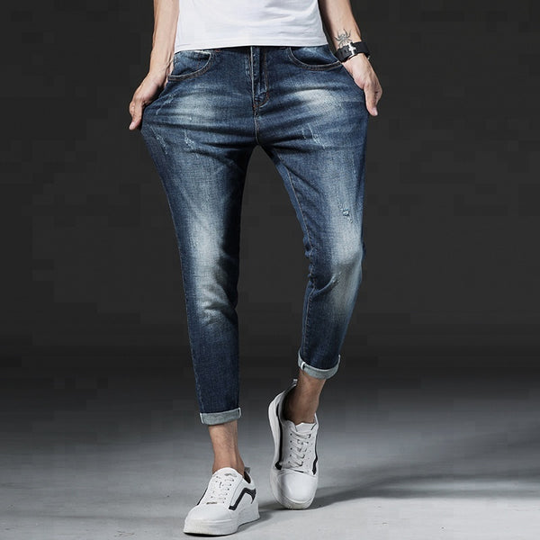 2018's Fashionable Stylish Skinny Jeans Washed Blue Tight Men's Jeans