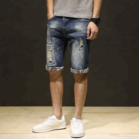 Fashionable Modern Men's Blue Denim Ripped Short Jeans