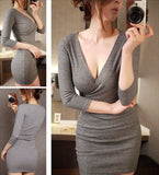 Trending Fashion Style Sleeved Tight Long Deep V Collar Slim Bag Women Mini Dress