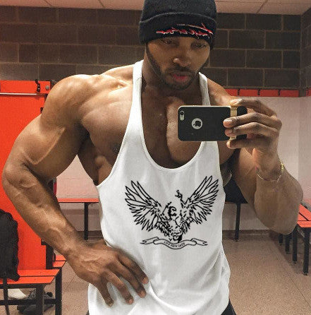 Men Cotton Tank Top Sleeveless Undershirt Printing Sling Bodybuilding Summer Vest Fitness Stringer Muscle Tops