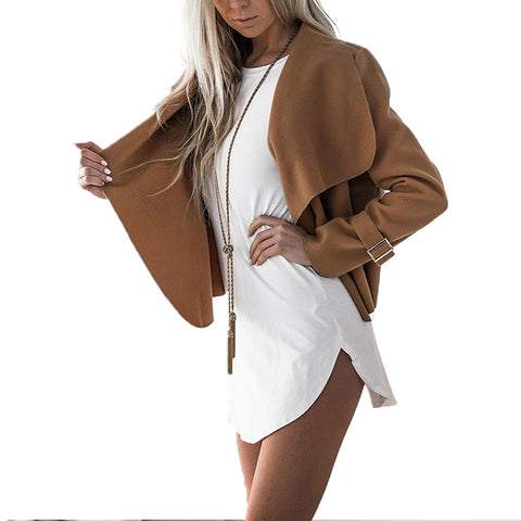 Latest Dazzling Camel Open Front Irregular Collar Women Coat Cardigan