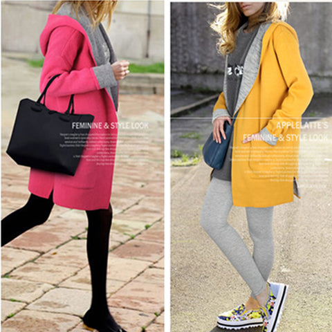 New Winter Candy Color Size Loose Wool Coat