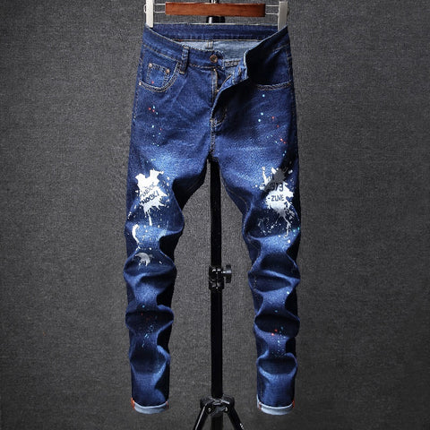 Funky Fashionable Boy Hand Painted Skinny Jeans