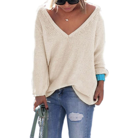 Plus Size Autumn Winter Women Loose Sweater Pullover V Neck Long Sleeve Casual Solid Loose Knitted Blouse Shirt