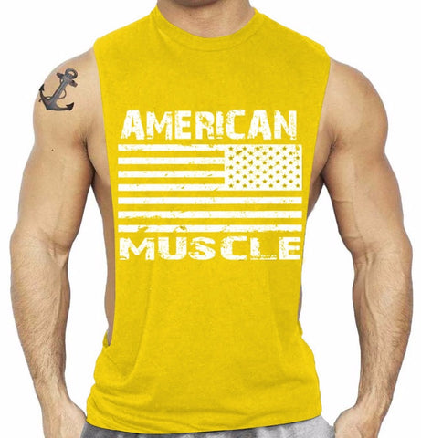 Star And Strip American Muscle Sleeveless Large Armhole T Shirt Bodybuilding Wear Gymwear