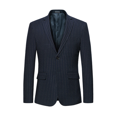 Men's Fashion Slim Fit Striped Suit Grey Navy Blue Top Two Button Jackets