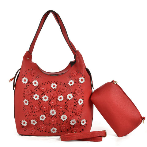 Flower handbag with matching purse/clutch