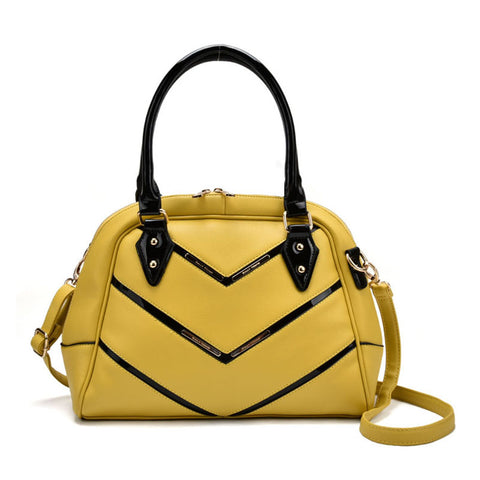Patent Handle Double Zipper Top Tote Bag