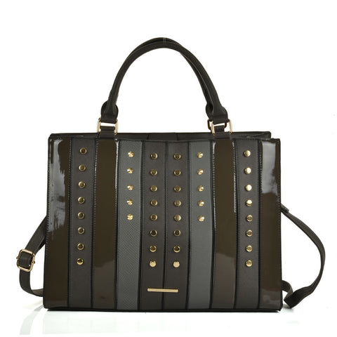 Patchwork studded handbag