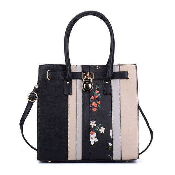 Patchwork Snakeskin Grain Tote Bag With Lock