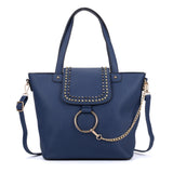 Studded Tote Bag With Ring Detail
