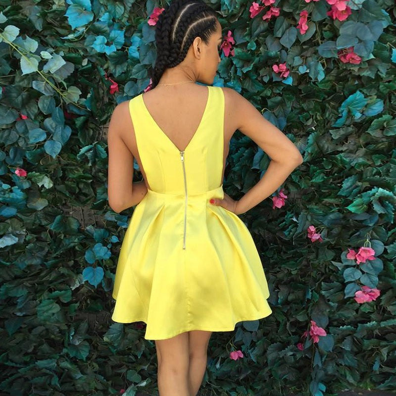 A-line V-neck Simple Yellow Satin Short Homecoming Dresses, HD0518